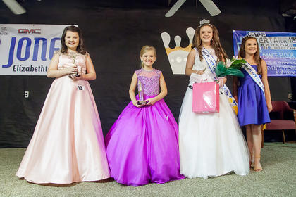 The winner of the miss Pre-Teen pageant is pictured from left to right: 2nd runner up Hannah Rager, Muhlenburg,County; 1st runner up Landree Button Glasgow and Miss Pre-Teen Keily Johnson, Green County.