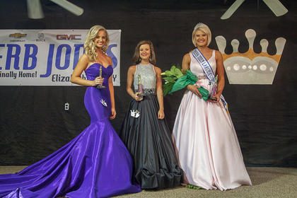 Miss Teen candidates are pictured from left 2nd runner up Jenny Elizabeth Lewis of Garfield; Taylor Hensley of Glasgow and Miss Teen Sheriden Mackenzie Elmore of Cecilia.