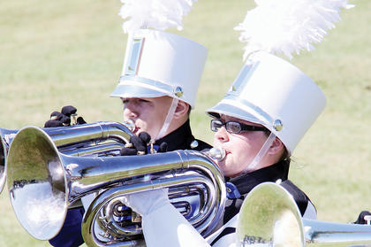 Band of Hawks members Destinee McIntosh, front, and Chance Johnson performed at the Taylor County Marching Invitational.