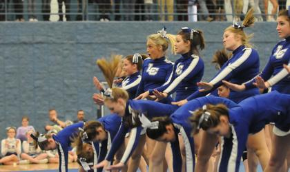 The LaRue County High School varsity cheerleaders perform their 2 1/2 minute routine.