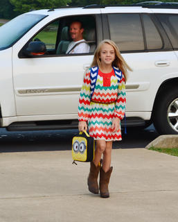 Eighth-grader Morgan Jaggers was all smiles as she walked into LaRue County Mniddle School on the first day of school.