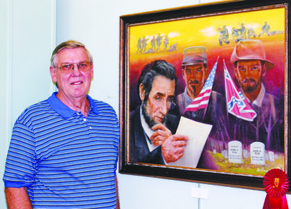Wes Kendall's, 'Casualties' oil painting took second place in the Lincoln Division.