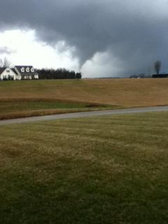Mike Skaggs snapped this photo Wednesday as a funnel cloud formed near Buffalo.