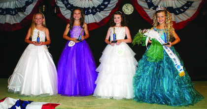"From left, second runner-up Brooklynn Marie McCawley, 9, daughter of Steve and Deborah McCawley of Cave City; Most Photogenic, Claire Pearl, 12, daughter of Nick and Angie Pearl of Elizabethtown; first runner-up Audrie Faith Roy, 8, daughter of Darren and Julie Roy of Russell Springs; and Miss Pre-Teen Jenna Alyssa ""Keitha"" Nashton Lee, 9, daughter of Annitta Barnett and the late Keith Lee of Columbia."