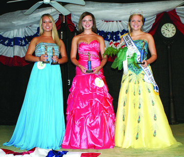 Miss Teen: From left, Most Photogenic and second runner-up, Shae Crain, 14, daughter of Steve and Patty Crain of Hart County; first runner-up, Faith Nicole Johnson, 15, daughter of Brian and Missy Johnson of Greensburg; and winner, Danielle Sullivan, 15, daughter of Tim and Melinda Sullivan of Russell Springs.
