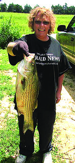 Ramona Coffey of Hodgenville caught this 24-inch striped bass. It put up quite a fight.