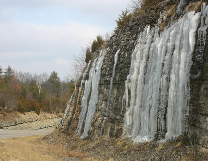 Ice continued to hang around Muldraugh Hill Saturday although most of it had melted from the roadway.
