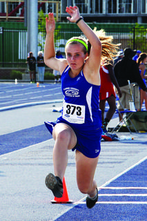 Sophomore Nichole Thomas competed in the triple jump event at the Class 2A State Track Meet at the University of Kentucky.