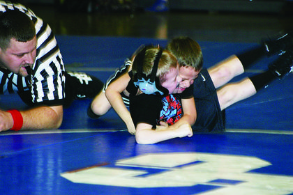 The youngest Mat Hawks had a meet Friday night at LaRue County Middle School. Dax Allen (on bottom) grappled with his teammate, Colby Padilla.