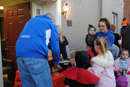 Several businesses set up stops for trick-or-treaters on the square.