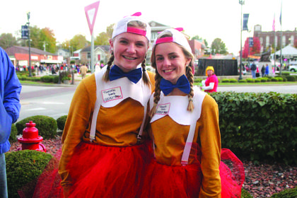 Tweedle Dee (Avery Harned) and Tweedle Dumb (Alexandra Mackey) made an appearance at Trick or Treat on the square.