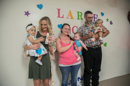 The winners of the most beautiful little girl five-months-old to one-year-old contest were from left Tinsley James Price, nine-months-old, of Magnolia (third place), Gwendayln Henderson, five-months-old, of Hodgenville (second place) and Addison Brewer, six-months-old, of Magnolia (first place)