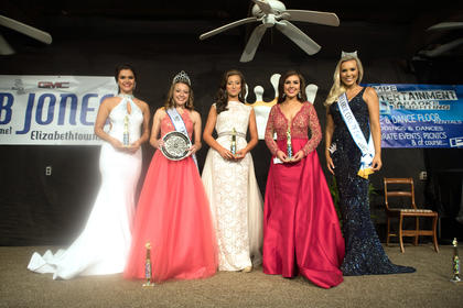 The 2017 Miss LaRue County Fair Court is pictured from left Miss Congeniality Carla Carfora, Katelynn Lafollette Miss LaRue County and Peoples' Choice, Second runner-up Morgan Harvey, first runner-up Meaghan DeVito and Miss LaRue County Fair Alexa Loy.
