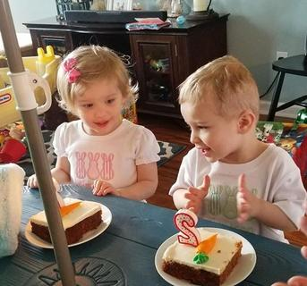 Twins Mattie Ann and Grayson Davenport are pictured celebrating their 2nd birthday on Easter with Carrot Cake. They are the daughter of Scott and Chelsea Davenport.