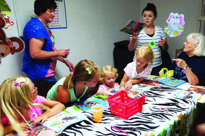 Learning about biblical characters at Pleasant Ridge Separate Baptist Church's vacation Bible school are, from left, Sharronne England, Sybil Skaggs (assistant), Grace Traxel, Kelsey Skaggs, Morgan Skaggs, Paige Noe (assistant), and Shirley Noe, teacher.