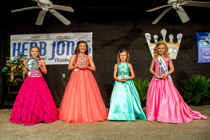 The winners of the 2017 LaRue County Fair Miss Pre-Teen pageant are picture from right Brylee Dobson, 8, of Hodgenville (Peoples Choice), Presleigh Nicole Scott, 12, of Elizabethtown (second runner-up),  Victoria Lynn Brown, 8, of Kings Mountain (1st runner-up); and Landree Ellan Button, 9, of Glasgow (winner).