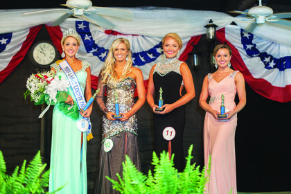 From left, Cayleigh Ashtian Allen, 17, the daughter of Joe and Cassie Allen of Hodgenville, was crowned Miss LaRue County Fair. First runner-up was Kelli Mae Polston, 18, the daughter of John Polston and Shelby Botts of Tompkinsville; second runner-up was McKenzie Morris, 17, the daughter of Greg and Mia Morris of Somerset; and Miss Congeniality was Cassidy Brooke Blair, 19, the daughter of Bryan Blair and Terri Slinker of Campbellsville.