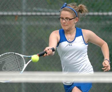 LaRue County&#039;s Maddie Lee competes in a singles match in the region tournament Friday at University Drive Park in Elizabethtown.