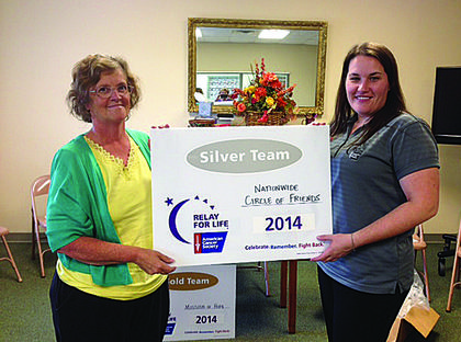 Countywide total for Relay for Life was $48,870.24.  Of that, sponsors provided $4,000; luminaire night was $260; and $2,100 was general donations. The accompanying photos are of team captains accepting recognition from Relay of Life Coordinator Kristin Darrow.  In this photo: Regina Childress accepts recognition from Kristin Darrow for Nationwide Uniform's Circle of Friends' Silver Team status at $4,046.
