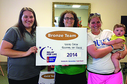 Kristin Darrow presents Bronze Team Status to Veirs Crew for $2,804.26. From left, Bev Veirs, Melissa Williamson and her daughter, Ella Williamson.