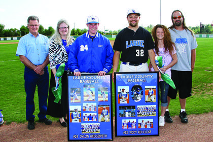 Senior Hawk baseball players Dylon Hedgespeth and Kody Key-Close, and their families, were honored at their final home game.