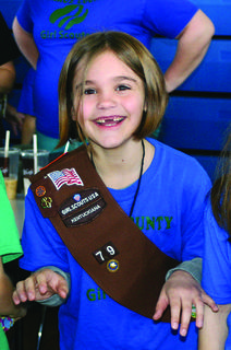 Girl Scout Alex Eskridge was all smiles at the LaRue County Extension Expo.