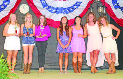 The winners of the Coca-Cola Talent Classic, from left, Olivia Allen, of Elizabethtown, first; Jera Kessler, of Columbia, second; Jade McClure, of Campbellsville, third; Alexis Ecarma, of Louisville, fourth; and Brittany Cruse, Patsy Bowles and Katie Bowles, all of Elizabethtown, tied for fifth.