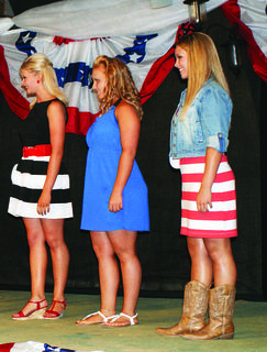 Sheridan Mackenzie Elmore, 13, daughter of Anthony and Jessica Elmore of Cecilia; Emily Miller, 14, daughter of Jamie and Angela Miller of Hodgenville; and Shae Crain, 14, daughter of Steve and Patty Crain of Hart County, line up to be judged in casual wear in the Miss Teen contest.
