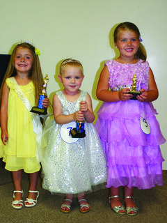 "Tiny Miss – from left, Akela Shay Davis, 4, the daughter of Tom and Laura Davis of Greensburg, winner; Addilyn Grace ""Addie"" Roberts, 3, the daughter of Ben and Angela Roberts of Hodgenville, first runner-up; and, Addelynn Faith Parrish, 4, the daughter of Meranda and Josh Parrish of Magnolia, second runner-up."