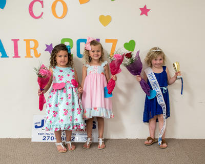 The Winners of the Tiny Miss pageant of the LaRue County Fair are pictured from left; Gracie Cooper, 4, of Hodgenville (second place); Laynee Jane Dobson, 4, of Hodgenville (third place) and Kaylee Thompson, 4, of Hodgenville (first place).
