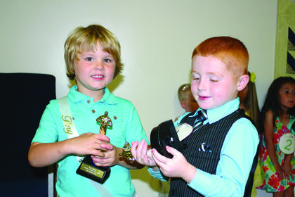 Tiny Mister – from left, Clay Ward, 4, the son of B.J. and Laura Ward of Hodgenville, winner; Ashton Yates, 4, the son of Jimmy and Angie Yates of Buffalo, runner-up.