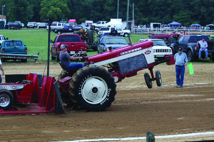 the front wheels on this tractor left the ground during Friday's tractor pull.