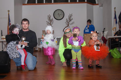 Winners of the 1-2 year old group were, from left, Addison Masure (Scariest), Ellie Grace (Most Original),  Ella Harris (Funniest) and Hayden Clifford (Cutest).