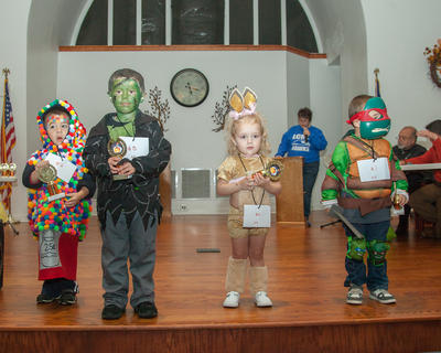 The winners of the 3-4 year old group were, from left, Sean Gearon (Most Original), Wyatt Brown (Scariest), Kinzleigh Huck (Cutest) and Braly Johnson (Funniest).
