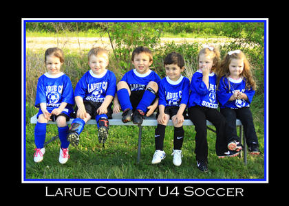 Denver Elliott coaches this U4 soccer team. From left, Autumn Jeffries, Noah Sietsema, Chase Skaggs, Caden Thomas, Dalyana Elliott and Lily Elliott.