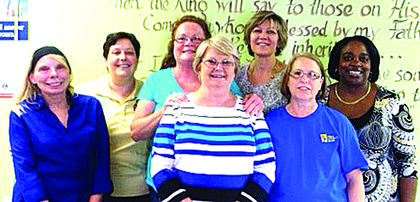 Volunteers from First Citizens Bank are pictured after a night of serving and cleaning up at Warm Blessings Soup Kitchen. Front from left, Phyllis Higdon, Patty Edlin; back, Brenda Gayler, Amy Smith, Lisa Gardner, Carla Weston and Regina Parker. First Citizen staff have volunteered monthly since August 2012. To volunteer, call 270-763-9276. Monetary support can be sent to P.O. Box 2384, Elizabethtown, KY 42702.