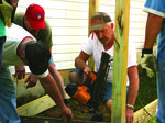 Oak Hill Baptist volunteers building a ramp