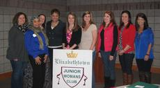 """<div class=""""source""""></div><div class=""""image-desc"""">The Elizabethtown Junior Woman's Club had its annual membership drive on March 7th and invited Dawne Gee from WAVE 3-TV to speak. Her presentation was about what she has done in the community, the hearts that she has touched, and those hearts that touched hers. It was great to hear stories of how to make our community a better place and gave us great insight for future ideas. We enjoyed an ice cream social and presented Dawne with a bouquet of flowers from Elizbethtown Florist and a gas card! From left: Desiree Perkins, Sheree Culbreath, Michelle Nevitt, Dawne Gee, Leanna Milby, Shelley Brackett, Leslie Steiner, Eileen Townsend, and Andrea Pelley.</div><div class=""""buy-pic""""><a href=""""/photo_select/26643"""">Buy this photo</a></div>"""