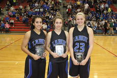 """<div class=""""source"""">David Dawson</div><div class=""""image-desc"""">Alexis Brewer, Alyson Yingling and Ivy Brown were named to the All-Tournament Team.  </div><div class=""""buy-pic""""></div>"""