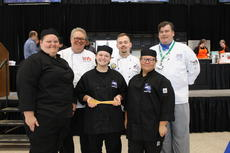 "<div class=""source"">Photo by Allison Shepherd</div><div class=""image-desc"">LaRue County Junior Chef Team members Amy Hammers,  Tori Perry, and  Lorelai Sherrard are pictured with three of the Junior Chef judges following their win on Thursday. </div><div class=""buy-pic""><a href=""/photo_select/64939"">Buy this photo</a></div>"