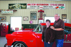 "<div class=""source"">Doug Ponder</div><div class=""image-desc"">The Shoebox Shop owners Patty and Jim Hornback are pictured in their showroom on 4754 Old Elizabethtown Road in Hodgenville. The business restores and services a wide variety of classic cars, street rods, bicycles, gas pumps, signs, vending machines and much more.</div><div class=""buy-pic""><a href=""/photo_select/45579"">Buy this photo</a></div>"