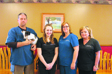 "<div class=""source"">Doug Ponder</div><div class=""image-desc"">Plantation Veterinary Clinic is a full service veterinary medical facility that is located on 7558 New Jackson Highway in Hodgenville. Pictured from left is veterinarian Dr. Michael Keller holding Smiley, Hannah Owens, Michelle Taylor and Farrah Pruitt. </div><div class=""buy-pic""><a href=""/photo_select/46179"">Buy this photo</a></div>"