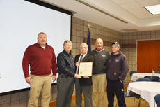 """<div class=""""source"""">Submitted photo</div><div class=""""image-desc"""">From left: Nolin RECC Compliance Coordinator, Randy Meredith; Nolin RECC President and CEO, Mickey Miller; Labor Cabinet Deputy Secretary, Mike Nemes; Nolin RECC Vice President of System Operations, Vince Heuser; and Nolin RECC line technician, Nathan Yates. </div><div class=""""buy-pic""""><a href=""""/photo_select/47520"""">Buy this photo</a></div>"""