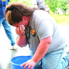"<div class=""source"">Candis Carpenter</div><div class=""image-desc"">LaRue County Detention Center employee Alisha Hall washes pepper spray out of her eyes. She is one of 19 employees who were certified in use of the spray Monday. The course, taught by Sheriff Bobby Shoffner, was one of several training opportunities sched</div><div class=""buy-pic""><a href=""/photo_select/5309"">Buy this photo</a></div>"