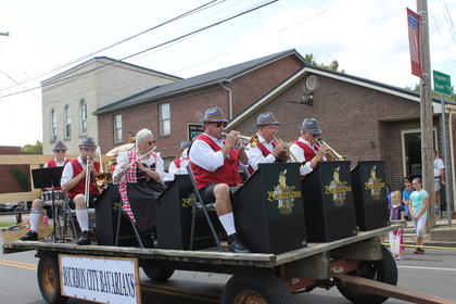 The Bourbon City Bavarians Play in the 2017 Iron Horse Parade.