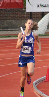 Kristina Durbin ran the final leg in the 4x400 during the State Track Meet held at UofL in May.