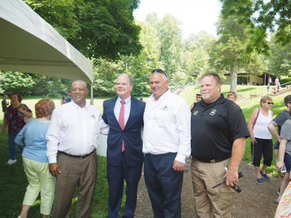 Pictured from left are Magistrate Tony Stewart, U.S. Congressman Brett Guthrie, Magistrate Larry Howell and Sheriff Russell McCoy.