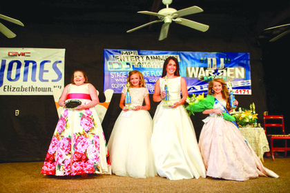 The winners of the 2018 LaRue County Fair Miss Pre-Teen pageant are picture from left Charity Brook Johnson, 12, of Greensburg - People's Choice – parents are Brian and Missy Johnson; Railey Shae Thrasher, 10, of Elizabethtown - 2nd Runner Up – parents are Jay and Jennifer Thrasher, Hadley Mae Adams, 12, of Cave City - 1st Runner Up - parents are Tim and Amanda Adams and Oakley Autumn Grubbs, 8, of Glasglow – Winner – parents are Macy and Ashley Grubbs.