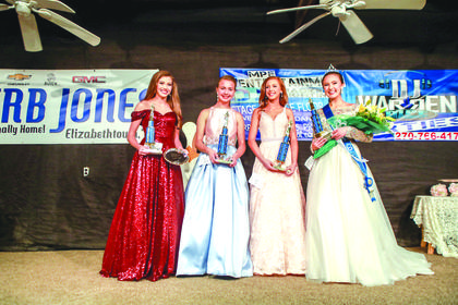 The winners of the 2018 LaRue County Miss Teen pageant are pictured from left Skylar Owen, 14, of Glasgow - people's choice and 2nd runner up – parents are George and Stacey Owen; Payton Marie Kinnett, 13, of Jamestown - Miss Congeniality – parents are Luke and Sonya Kinnett; Gabrielle Faith Norris, 14, of Breeding - 1st runner up – parents are Mike and Sheri Norris and Georgia Bronson, 13, of Shepherdsville – Winner – parents are Marvin and Nickie Bronson.