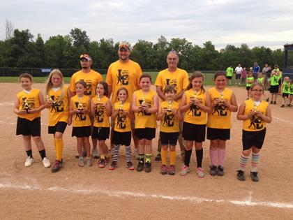 The 9U Honey Bees are Alaura Allardice, Ryan Brooke Puckett, Stephanie Whiteman, Kelsea Baker, Kayla Thompson, Kinsey Thompson, Athena Roten, Kara Reed, Kiersten Reed and Trinity Beth Carroll. Coaches are Jim Allardice and Matt Clifford.
